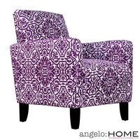 angelo:HOME Sutton Modern Damask Provence Purple Arm Chair | Overstock.com