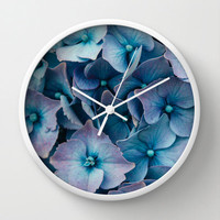 Modern Wall Clock with Original Blue Hydrangeas Art Print