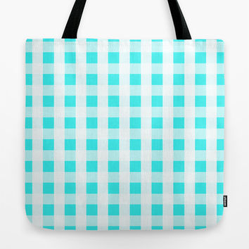 Plaid Flannel Turquoise Mint Tote Bag by Beautiful Homes