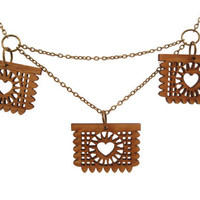 Papel Picado Necklace- Triple Amber Bamboo