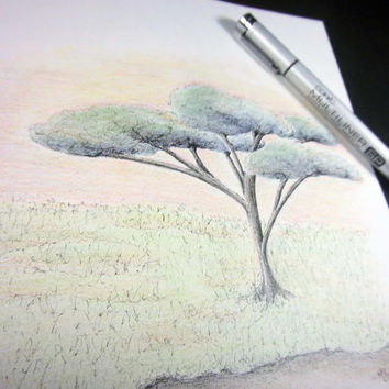 "Colored Pencil drawing with pen and ink detail Original Art - Pen and Ink illustration, surreal doodle art  - 9x12 - ""Summer"""