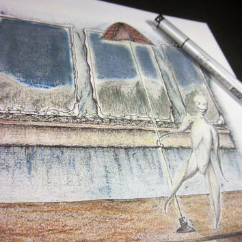 "Original art, storybook illustration, pen and ink art with oil pastels neutral tones 9x12 ""Dance"""
