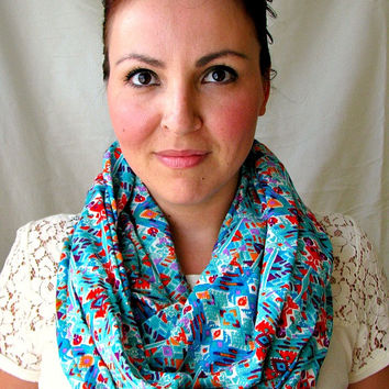 Aztec Infinity Scarf,  Loop Scarf, fashion scarf, gift for her, ethnic print circle scarf