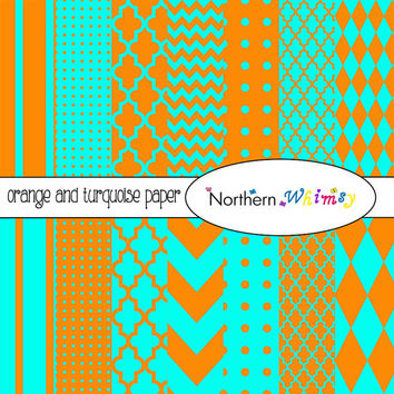 Orange and Turquoise Digital Paper Pack – scrapbook papers in stripe, chevron, polka dot, harlequin, & quatrefoil – instant download – CU OK