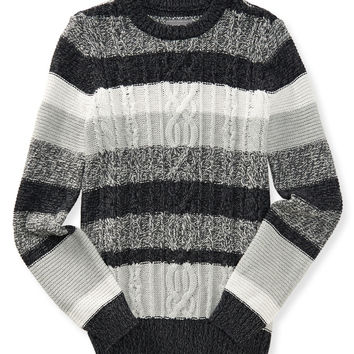 Aeropostale Stripe Cable-Knit Sweater - Charcoal Heather Grey, X-Small