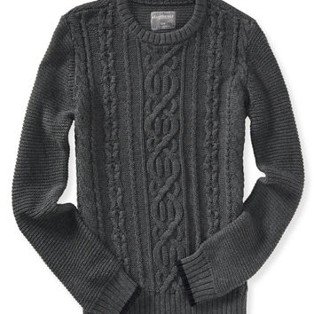 Aeropostale Solid Cable-Knit Sweater - Charcoal Heather Grey,