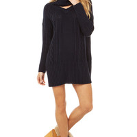 Somedays Lovin' Derailed Cable Knit Sweater Dress in Blue