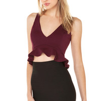 Sweet Pea Ruffle Crop Top in Ruby