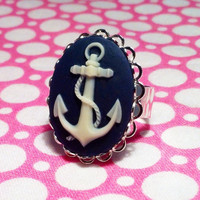 Nautical Anchor Cameo Ring