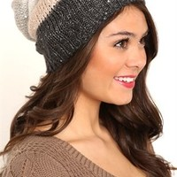 Multicolor Striped Knit Winter Hat with Sequins