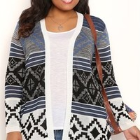 Plus Size Long Sleeve Navajo Print Cozy Duster Sweater
