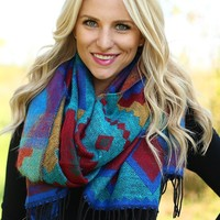 Elegant in Ethnic Print Scarf in Blue