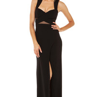 Bariano Katja Curve Slit Mesh Cut Out Maxi Dress in Black