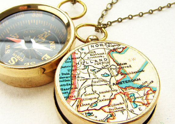 Personalized Map Compass Necklace - Amsterdam Map, custom choose your city map - personalized gifts, Men pocket chain