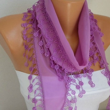 Lilac Scarf     Cowl with Lace Edge Gift for Her Valentine