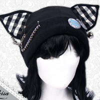 Cat Kitty Fleece Hat  Anime Cosplay Punk JRock  (Checkered Ears)