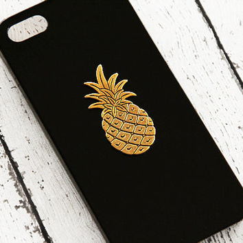 Pineapple iPhone 6 Case iPhone 5 Pineapple iPhone 4 5s 5c Pineapple Fruit Charm Gold Gift Ideas iPhone5 Black iPhone 5c Trendy iPhone 6 Plus