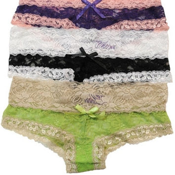 """""""Kat"""" Two Tone Lace Cheeky Panties - Black/White, Purple/Pink or Lime/ – H.C.B."""