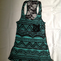 Black and Turquoise patterned tank top with black lace back