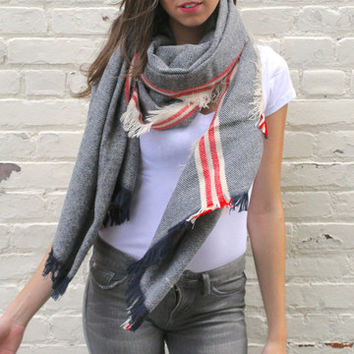 Soft Striped Blanket Scarf with Fringe - Navy/Red/Ivory – H.C.B.