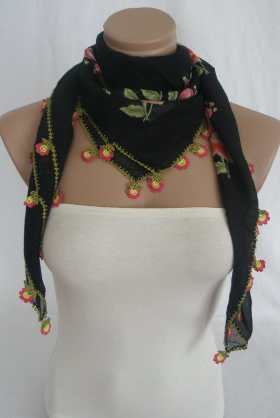 Traditional Turkish Yemeni Cotton Scarf With Lace