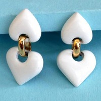 White and Gold Heart Earrings Vintage by Napier Screwback Clip-ons