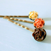 Shabby Chic Rosette Orchid Flower Bobby Pin Set of 3: Ivory, Coral &amp; Brown in Antique Brass from the Vintage Garden