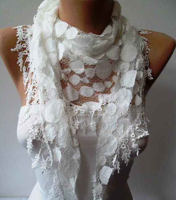 White Lace Scarf -- Polka Dot -- with White Trim Edge