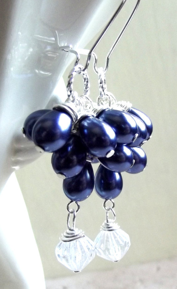 Navy Blue Pearl Earrings:  Teardrop Cluster Dangle, Bride, Bridesmaid Classic Wedding Jewelry, Gift Under 30
