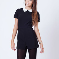 Black Playsuit With White Collar
