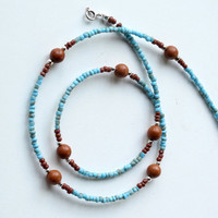 Beaded turquoise necklace - stone & glass beads