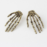 Unique Cool Human Skeleton Hands Stud Earrings wholesale