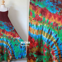 Funky Sexy Tie Dye Colored Cotton Maxi Dress Exotic by madoosika