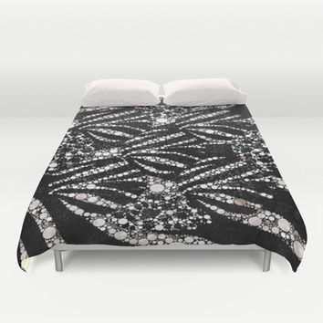 Black&Silver Abstract Bling Pattern  Duvet Cover by Amy Anderson
