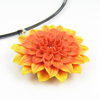 Polymer clay dahlia pendant - orange yellow dahlia - floral pendant - autumn flower - fall pendant