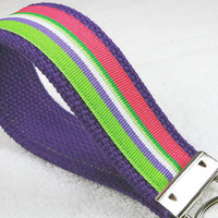 Keychain Wristlet Keyfob Keylette Key Ring - Stripes Striped Grosgrain Ribbon Webbing Purple Green Pink - Porte-clés - Ready to ship