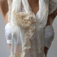 Pearl White -- Elegance Shawl -- Scarf with Lace Edge---