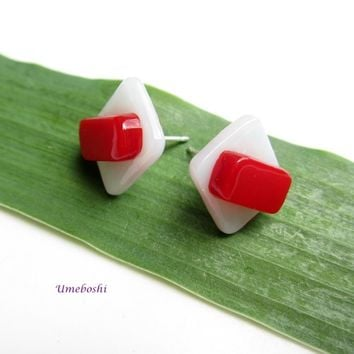 Red and White Square Handmade Post Earrings - Fused Glass