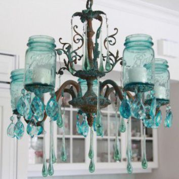 Absolutely Gorgeous DIY Aqua Chandelier | Shelterness