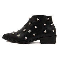 Black Star Studs Ankle Boots