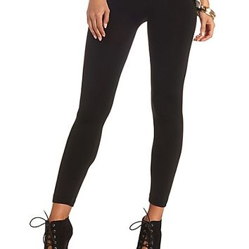 High-Waisted Fleece-Lined Leggings by Charlotte Russe - Black