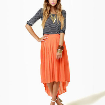 Crowd Pleats-er Orange Pleated Skirt