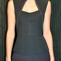Yigal Azrouel mechanical stretch top with zip black
