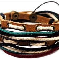 Adjustable Bracelet Cuff made of Brown Leather Multicolour Ropes and metal Woven Snapper Mens Bracelet girls Bracelet Unisex Bracelet  567S