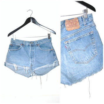 vintage LEVIS button fly shorts / early 90s GRUNGE distressed light DENIM jean cut offs