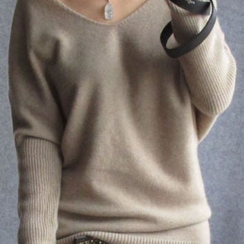 Womens Beige Knitted Pure Cashmere Fall Sweater Pull Over V Neck