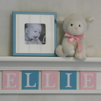 "PINK and TEAL Shelves, Personalized Baby Nursery Decor 24"" Linen (Off White) Shelf - 5 Wooden Letter Plaques Light Pink and Teal - ELLIE"