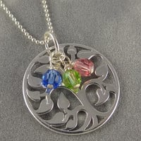 Silver Family Tree of Life Necklace -  Custom Birthstone Necklace - Personalized Necklace - Mothers Day Gift