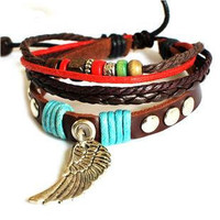 Jewelry Bangle bracelet women Leather Cuff Bracelet Girl Ropes Bracelet with color beads 687A