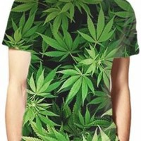 Pot T-Shirt - All Over Dope Leaves